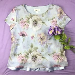 Vintage Chiffon Floral Miss Dorby Blouse